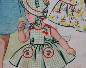 Toddlers Sundress And Brimmed Hat Pattern circa 1950s  Instant Download   Sz2 Chest 21