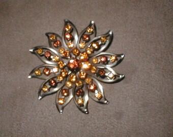 Vintage Topaz Rhinestone Brooch Pin