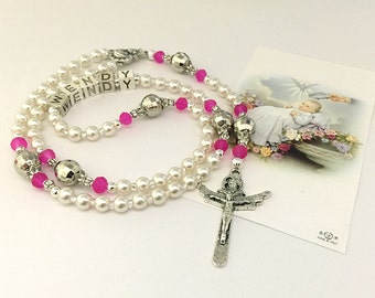 Personalized Rosary. Baptism Rosary. White and Pink Baby Rosary. Christening Rosary. Catholic Rosary. Catholic Gift. Holy Rosary. #R126