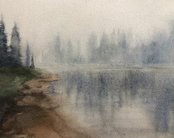 Pacific Northwest, landscape painting, watercolor painting, Misty landscape, alpine lakes, Misty mountain lake, PNW art, northwest landscape