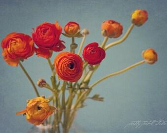 Fine Art Photo, Ranunculus Photo, Botanical Print, Orange, Bouquet, Spring, Flower Photography, Home Decor, Flower Art, Still Life Art