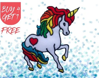 Horse Patches Unicorn Patch Iron On Patch Embroidered Patch Rainbow Mythical