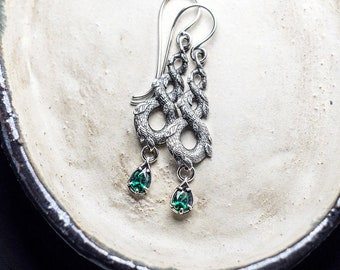 Emerald Dragon Earrings, Medieval Earrings, Dragon Scale and Leaves, Nature Inspired Earrings