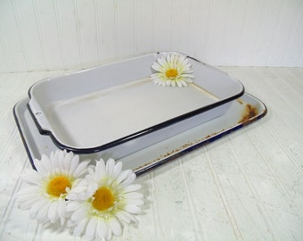EnamelWare Pan & Tray - Vintage Primitive Rustic Porcelain on Metal Rectangular Cake Pan and Serving Platter Pair - Shabby FarmHouse 2 Piece