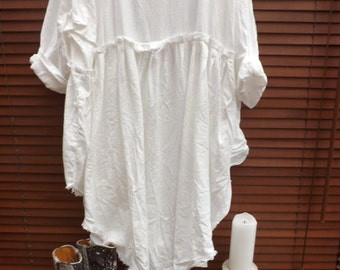 RITANOTIARA European washed Linen boho white empire line dress frayed edges lagenlook beach layering All SIzes prairie gypsy made to order