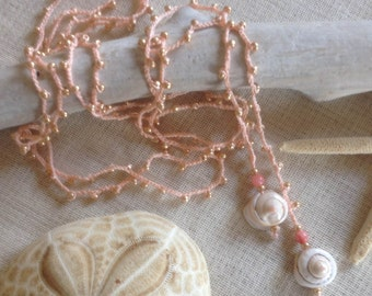 Peach Beaded Lariat with Shells