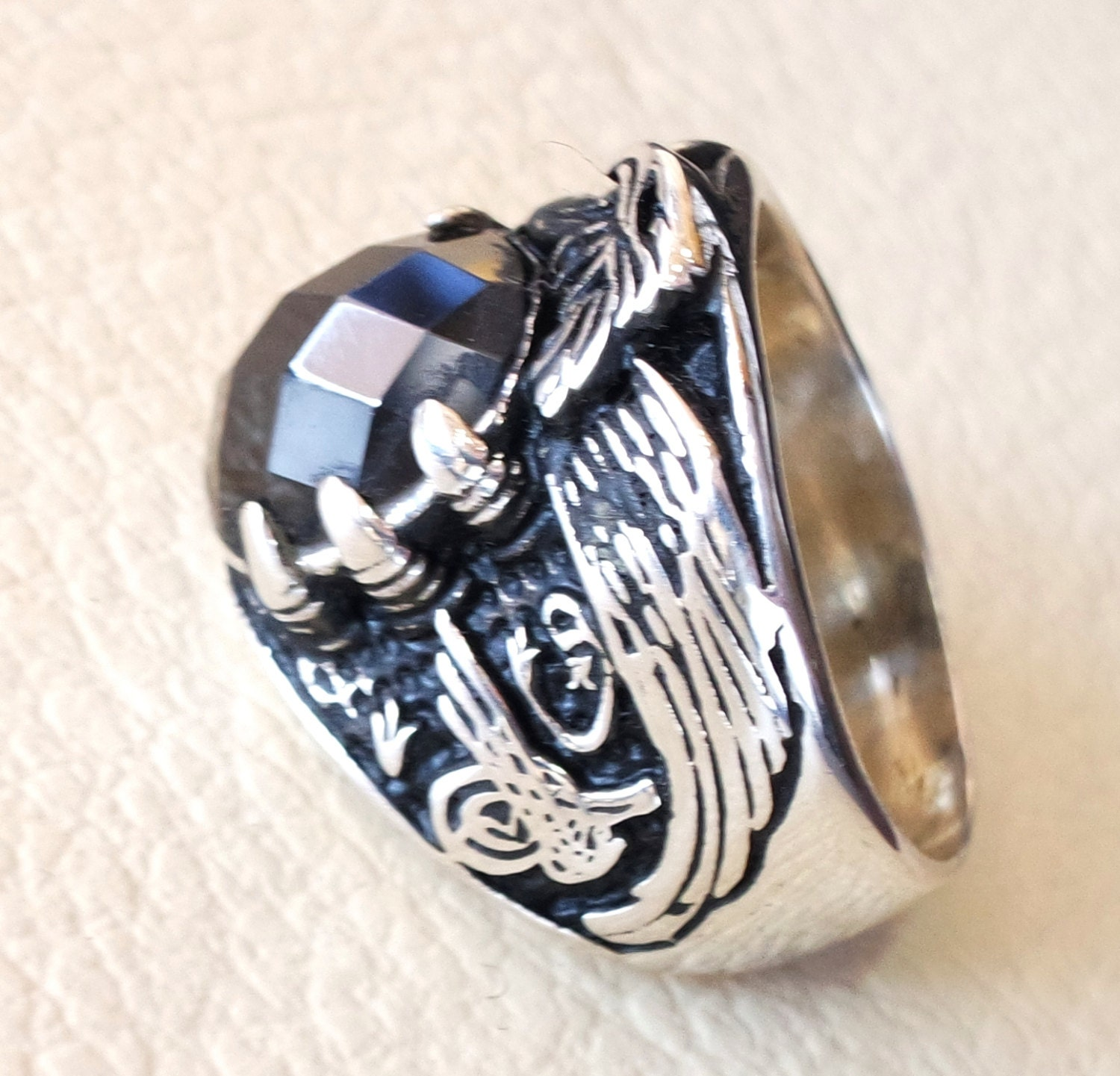 black onyx oval stone arabic men ring sterling silver 925