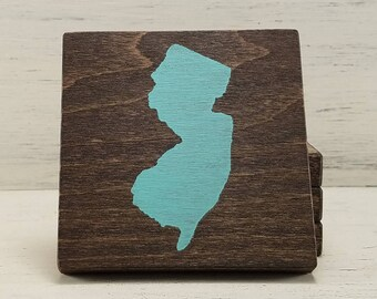 Pick a State- Pick a Color- Customizable Wood Coasters- Set of 4- New Jersey