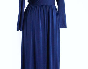 Vintage 1970s navy maxi dress UK 12 - 14