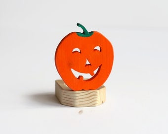 Halloween Candle Holder, Halloween Pumpkin Candle Holder, Jack O Lantern Wooden Nightlight, Spooky Orange Halloween Decor