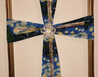 Starry Nights Fabric Cross on Frame