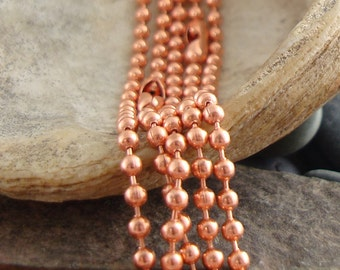 Copper Ball Chain, Ball Chain Necklace, Pure Copper Chain, Necklace Chain, Solid Copper Chain, For Dog Tags, Charms, and Pendants