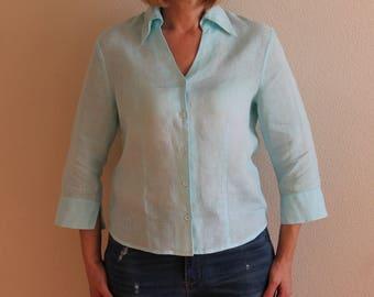 Linen Blouse  Sea Green Blouse Summer Shirt Button Up 3/4 Sleeve Top