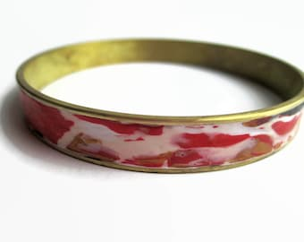 Bangle Bracelet, Cuff Bracelet, Brass Bracelet, Red and Gold Design // gifts for her
