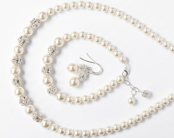 Bride Jewelry Set, Pearl Jewelry Set for the Bride, Art Deco Wedding Jewellery