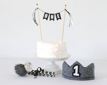 Black and White First Birthday Set - Boys 1st Birthday Crown and Cake Topper Set - ONE Cake topper and Crown Black & White -Smash Cake Props