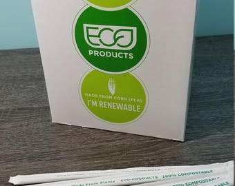 Green Individually Wrapped Straws / Box of 400 / Eco Friendly / Compostable Drinking Straws