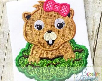 Groundhog Girl Applique Digital Machine Embroidery Applique Design 4 Sizes, groundhog day applique, groundhog applique, february 2 applique