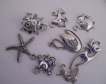 Set of 8 silver animal charms