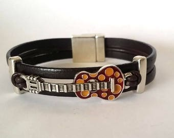 Music bracelet, Leather bracelet, Cuff Bracelet, Guitar Bracelet,  Rock Bracelet, Fashion Jewelry, Mens Bracelet,  rocker,  boyfriend gift