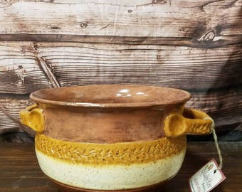 Beautiful Vine Handled Clay Bowl Hand Thrown Pottery