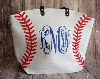 Monogram Baseball Mom Tote Bags White Baseball Bag Tote Bag Spirit Wear Custom Last Name Nickname Number Mother's Day Gift Team Mom Gift