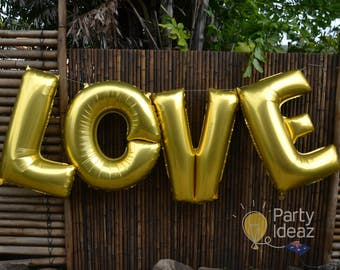 "Gold LOVE Balloons - 16""/ 32""/ 40"" - Foil LOVE Letter Balloons - Engagement Party Decorations / Wedding Balloons /Valentines Day/Anniversary"