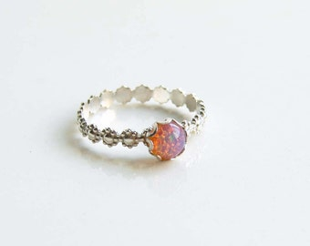 Vintage Pink Opal Ring. Fire Opal Glass Stone on a Daisy RIng. Made to Order. Stacking Ring. October Birthday