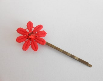 Bronze color Bobby pin with coral lace flower