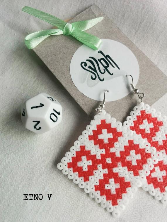 Earrings made of Hama Mini Beads - Etno V