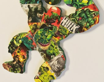 Incredible Hulk Wall Decor - Superhero Wall Art - Marvel Themed Baby Shower Gift - Comic Book Nerd Fan Art - Marvel Room Decor