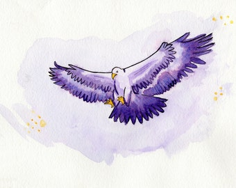 Golden Eagle in Purple - Watercolor Print on Canvas