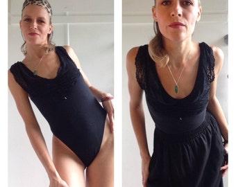 Vintage, 80's, Black leotard, Aerobics, Ballet, Black Lace, Goth, Rocker, Dancer, Bodysuit