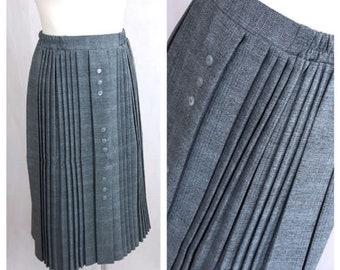 Vintage 80's Women Skirt Knee Length Gray Accordion Pleated Gathered UK12 EU38