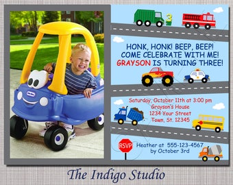 Cars and Trucks  3rd Birthday Party Invitation ALL AGES see other verse options in description -Option with No photo invitation you Print