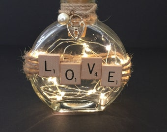 Scrabble Tile Love Bottle Light
