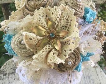 Brooch Bouquet / burlap and lace wedding bouquet / turquoise / aqua / pool blue brooches vintage rustic glam burlap wedding / bridal