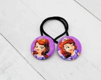 Sofia the First Elastic Hair Tie, Sofia Birthday Party Favor, Hair Accessory for Girl, Small Gift, Pigtail Set