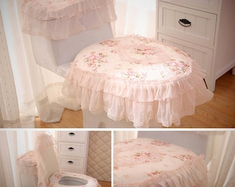 Home Bathroom 3-Piece Pink Fabric Lace Toilet Tank & Seat Cover Set