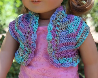 "Shrug bolero vest for 18"" doll like American Girl"