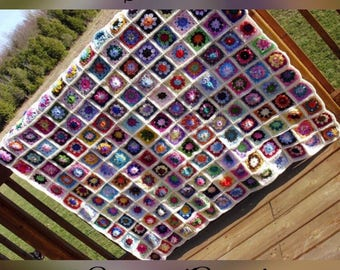 Warm and Cozy Handmade GRANNY SQUARE Crocheted Blanket Afghan- TWIN Size - Great Heirloom Piece
