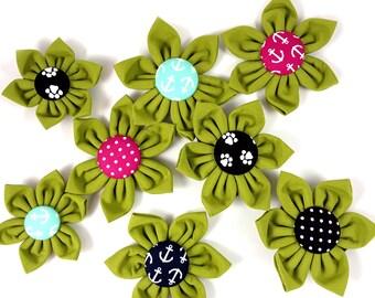 Olive Dog Collar Flower