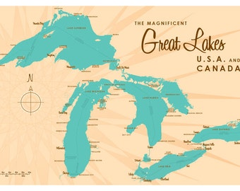 Great Lakes Map Print
