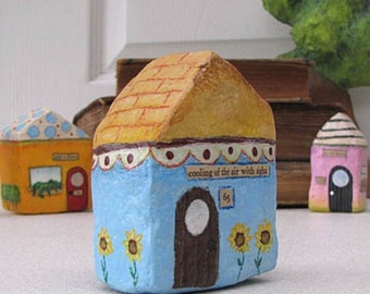 Art Sculpture Paper Mache - Chubby Little House Number 65 - cooling of the air with sighs