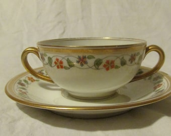 Double Handle Teacup And Saucer Bawo and Dotter Elite Works Limoges France Bouillon Cup Floral Vine Gold Trim Dulin & Martin 1920s-1930s B