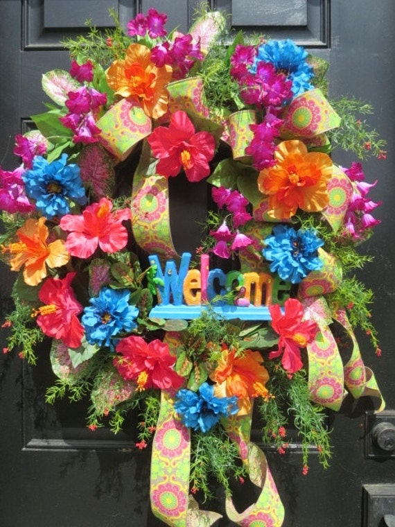 wreath tropical welcome front door coastal doors en listing beach summer il wreaths hk