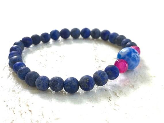 Lapis Lazuli Bracelet, Casual Stretch Bracelet, Boho Chic Jewelry, Mala Inspired Bracelet, Yoga Jewelry, Bohemian Style, Beach Bracelet