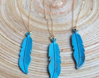 Turquoise Boho Feather Necklace