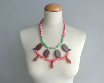 Pink brown necklace, salmon pink bib necklace, colourful chunky necklace, modern tribal necklace, statement pink green necklace