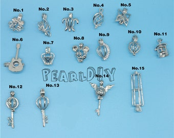 1 pc Pearl Cage  sterling  Silver 925 Charm Necklace  pendant  Pick A Pearl or Wish Pearl  Locket gift for girl